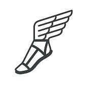 Sandal with wings icon