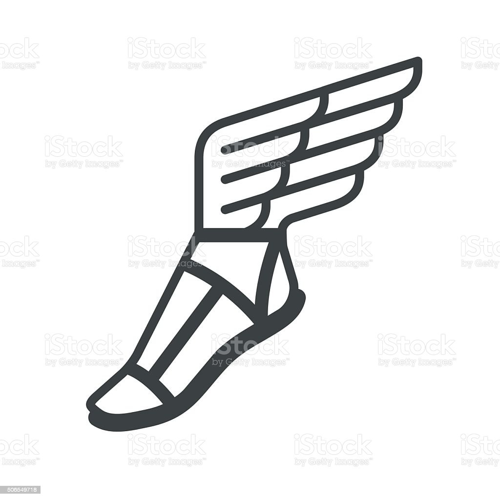 Sandal with wings icon vector art illustration