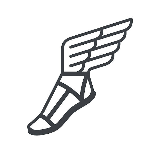 sandal with wings icon - animal wing stock illustrations