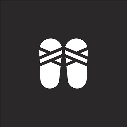 sandals icon. Filled sandals icon for website design and mobile, app development. sandals icon from filled summer clothing collection isolated on black background.