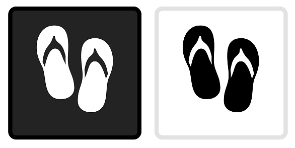 Sandals Icon on  Black Button with White Rollover