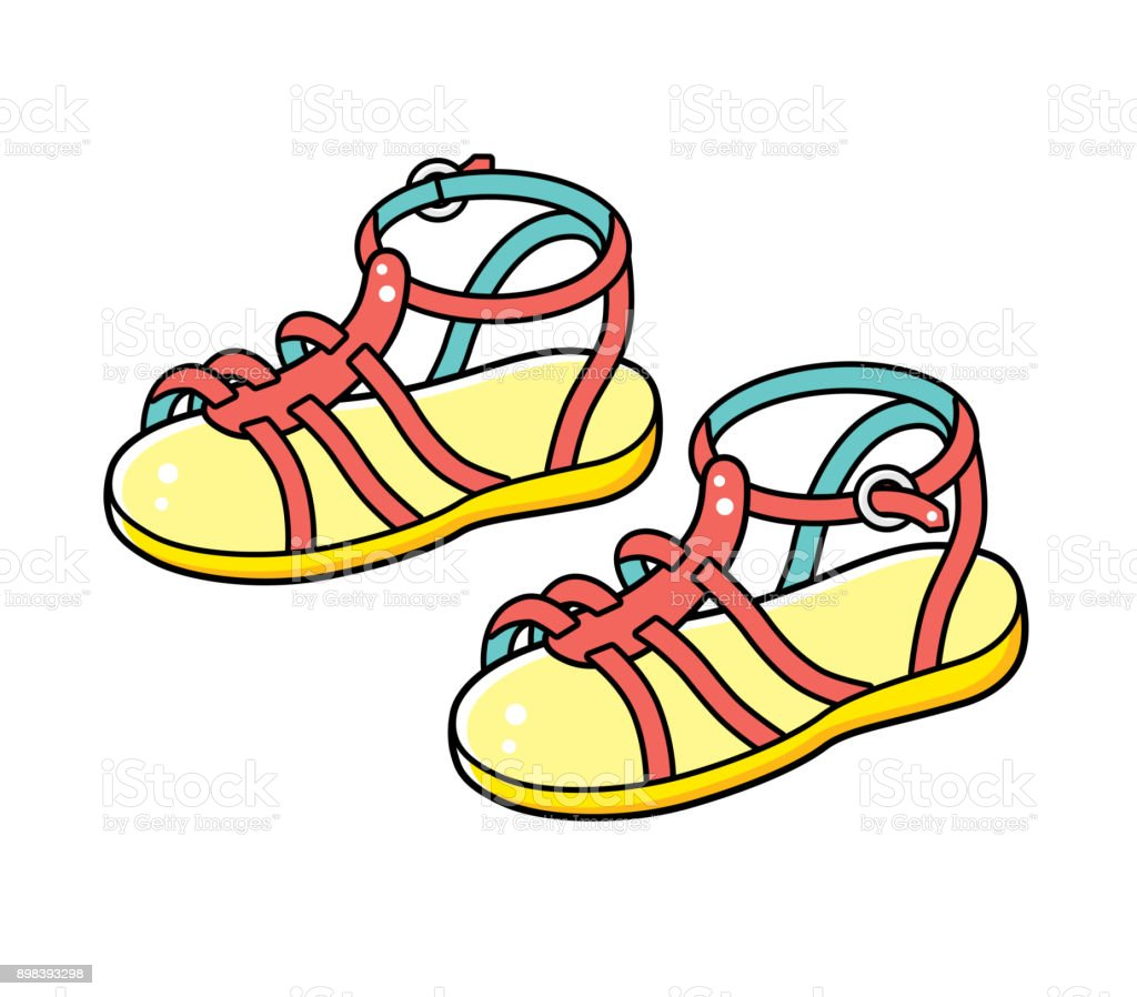 Sandals isolated. vector art illustration
