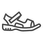 Sandals line icon, Summer shoes concept, Sandal sign on white background, light summer shoe icon in outline style for mobile concept and web design. Vector graphics