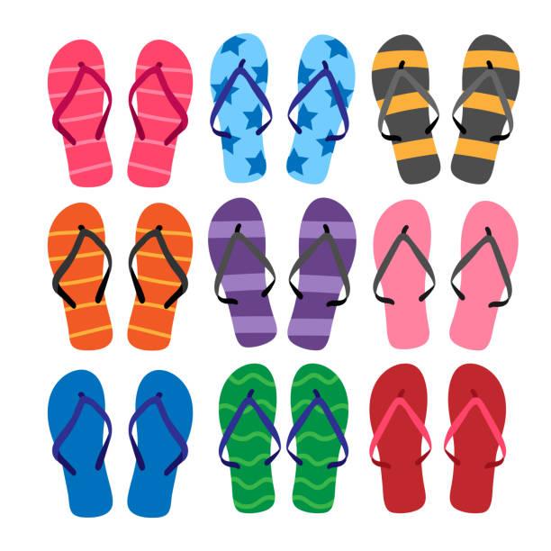 stockillustraties, clipart, cartoons en iconen met sandalen vector collectie design - sandaal