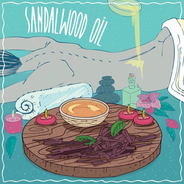 illustrazioni stock, clip art, cartoni animati e icone di tendenza di sandalwood oil used for body massage - china drug