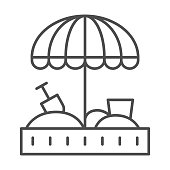 Sandbox and umbrella thin line icon, childhood concept, Sand kid playground sign on white background, Sandbox with umbrella for children icon in outline style for mobile. Vector graphics