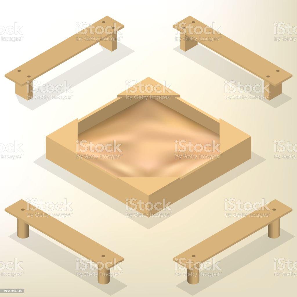 Bac à Sable Avec Bancs En Isométrique Illustration Vectorielle