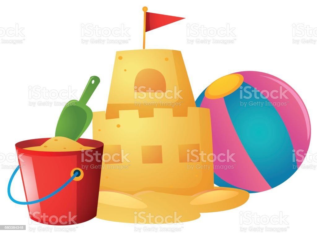 Sandcastle and beach ball royalty-free sandcastle and beach ball stock vector art & more images of art