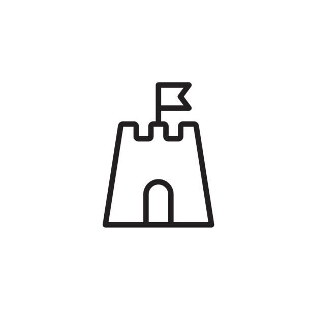 illustrations, cliparts, dessins animés et icônes de sandcastle icône mince ligne noire - chateau de sable