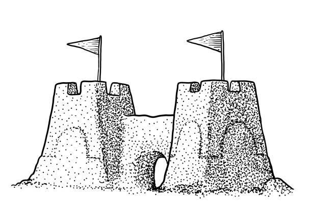 illustrations, cliparts, dessins animés et icônes de illustration de sandcastle, dessin, gravure, encre, dessin au trait, vecteur - chateau de sable