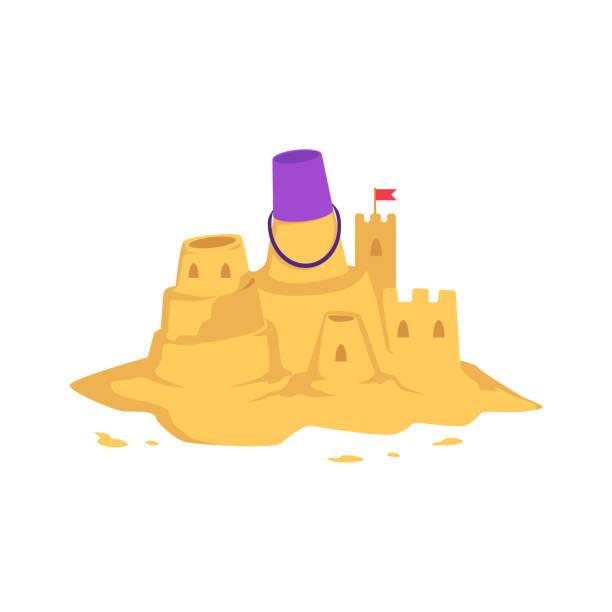 illustrations, cliparts, dessins animés et icônes de sandcastle avec seau jouet enfant et petit drapeau rouge dans le style plat. - chateau de sable