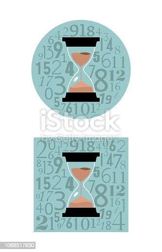 Sandglass time concept icons in round and square shape.