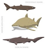 Sandtiger Shark Set Cartoon Vector Illustration