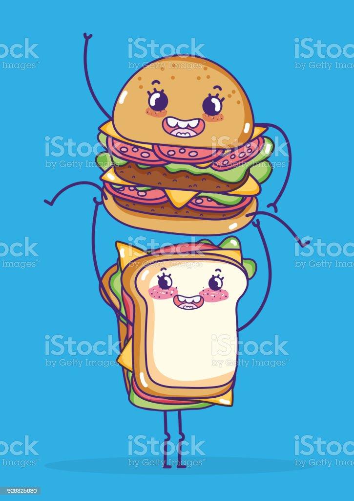 Ilustración De Sandwich Y Hamburguesa Dibujos Kawaii Y Más Vectores
