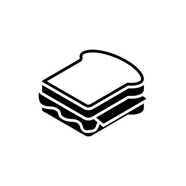 illustrazioni stock, clip art, cartoni animati e icone di tendenza di icona in bianco sandwich su sfondo bianco. illustrazione di fast food - panino