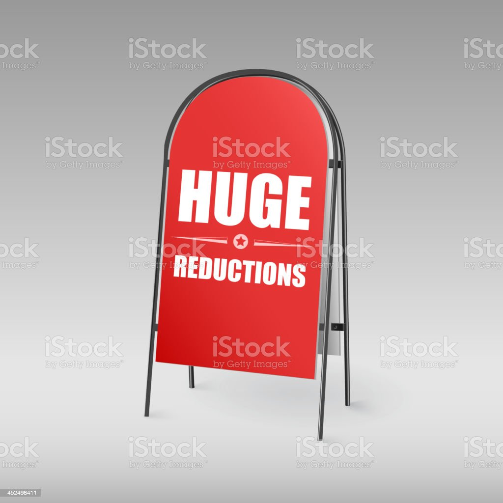Sandwich board on a red background royalty-free stock vector art