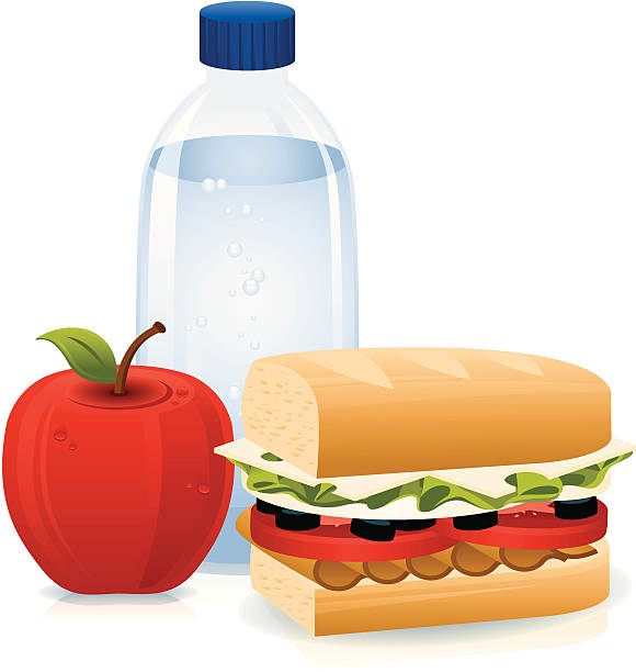 sandwich, bottled water and apple - sub sandwich stock illustrations, clip art, cartoons, & icons