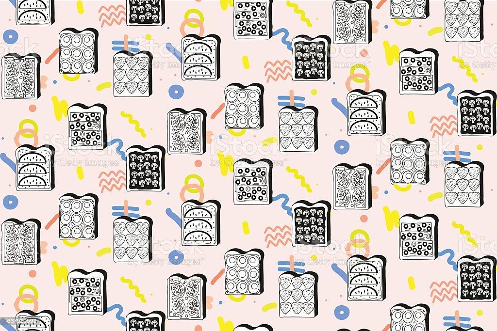 Sandwich, bread and butter vector art illustration