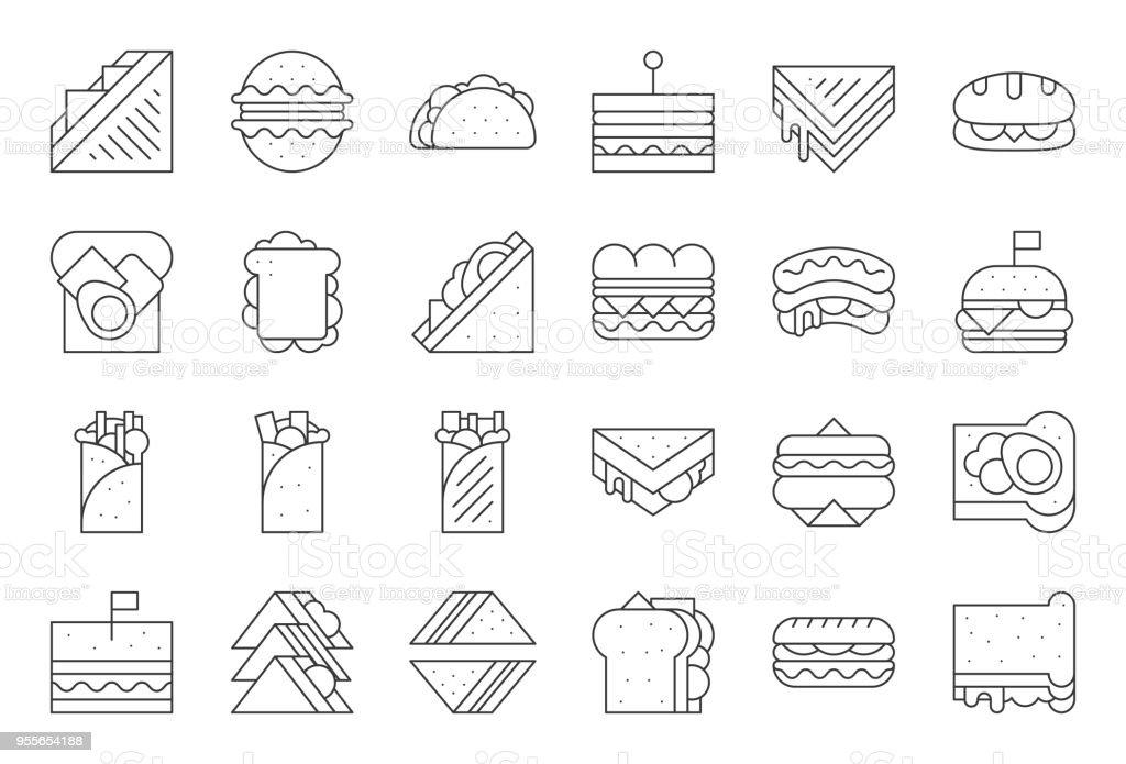 Sandwich, Burger und Döner, Übersicht-Symbol – Vektorgrafik