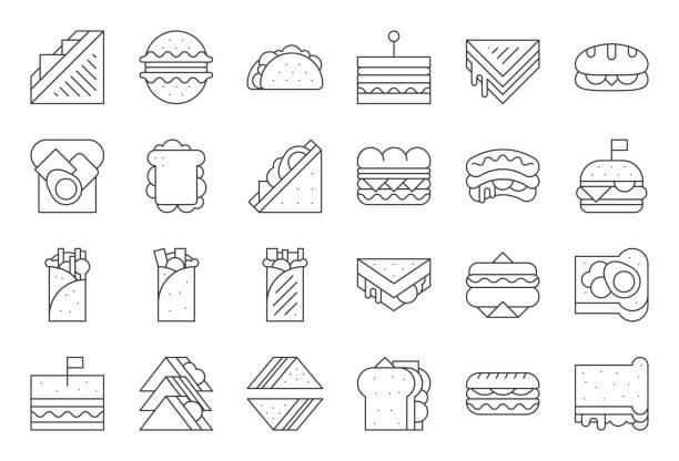 illustrazioni stock, clip art, cartoni animati e icone di tendenza di sandwich, burger and shawarma, outline icon - panino