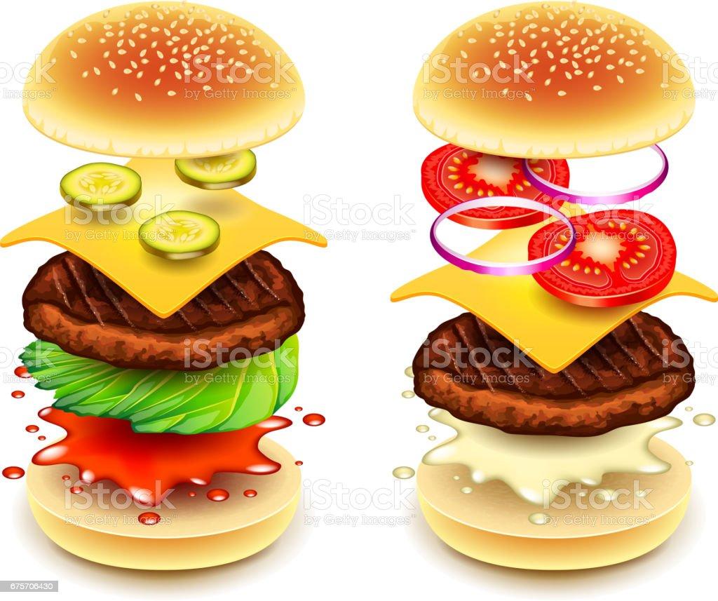 三明治漢堡層上白色向量孤立 免版稅 三明治漢堡層上白色向量孤立 向量插圖及更多 三文治 圖片