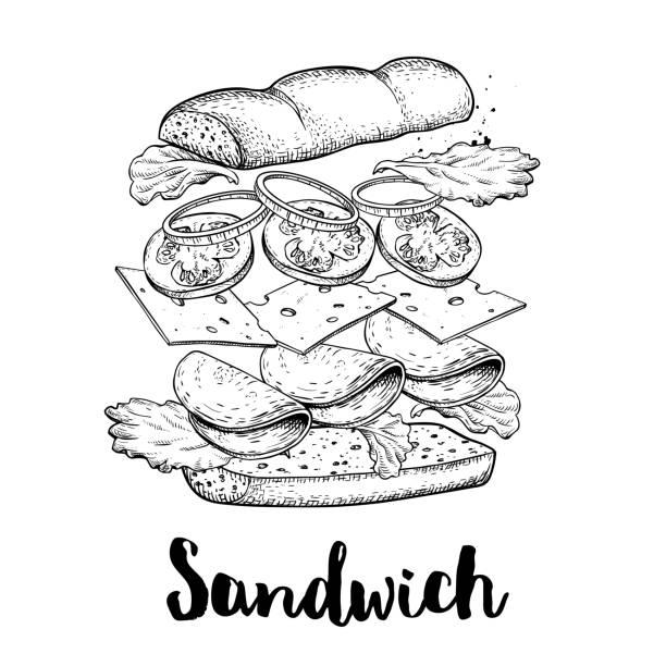 bildbanksillustrationer, clip art samt tecknat material och ikoner med sandwich-konstruktör. flygande ingredienser med stor mackor bulle. handritad skiss stil vektor illustration. snabb och street food ritning. skinka, ost, tomat, lök och sallad. - cheese sandwich