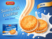 Sandwich cookies ads. Delicious vanilla cream flow. Cracker drop in milk splash. Package design template. Blue background with glowing effect. Food and sweets, baking theme. Vector 3d illustration.