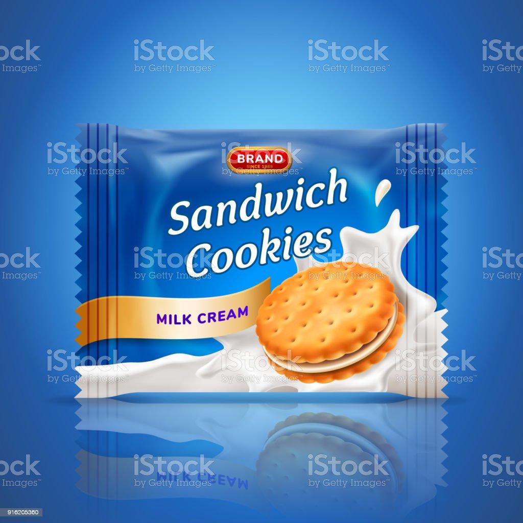 Sandwich Cookies Or Cracker Package Design Easy Used Template ...