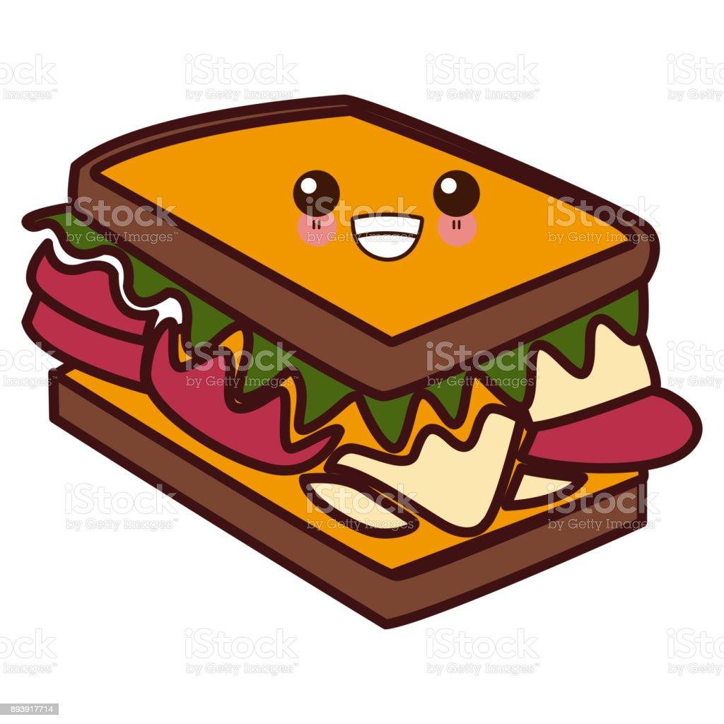 Ilustración De Sandwich Delicioso Comida Kawaii Cute Dibujos