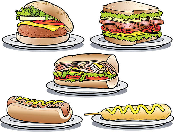 sandwich favorites - sub sandwich stock illustrations, clip art, cartoons, & icons