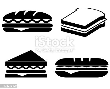Sandwich icon isolated on white background