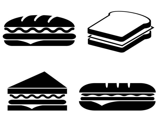 illustrazioni stock, clip art, cartoni animati e icone di tendenza di sandwich icon isolated on white background - panino