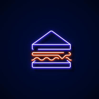 Sandwich Icon Neon Style, Design Elements