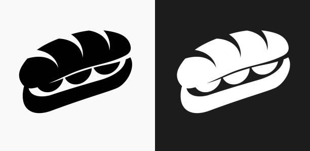 sandwich-symbol auf schwarz-weiß-vektor-hintergründe - sandwiches stock-grafiken, -clipart, -cartoons und -symbole
