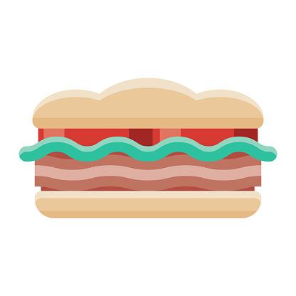 BLT Sandwich Icon on Transparent Background