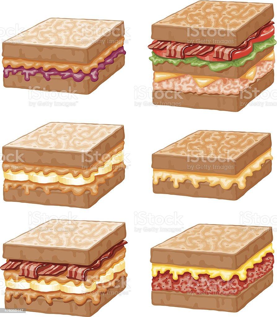 Sandwich Icon Set royalty-free stock vector art