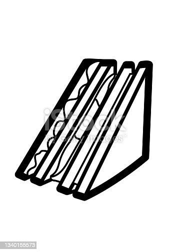 istock Sandwich icon vector illustration in monochrome color. 1340155573