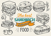 Sandwich illustration - bagel, snack, hamburger for restaurant