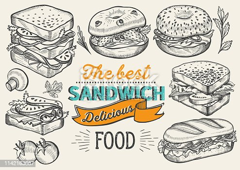 istock Sandwich illustration - bagel, snack, hamburger for restaurant. Vector hand drawn poster for cafe and fast food truck. Design with lettering and doodle vintage graphic. 1142163687