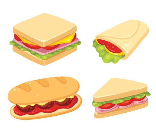 Sandwich illustration set Set of 4 sandwiches. Meatball sub, wrap and traditional ham and cheese on toast. Vector clip art illustration set. bread clipart stock illustrations