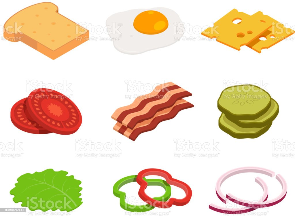 Sandwich isometric. Constructor of food with various ingredients vector art illustration