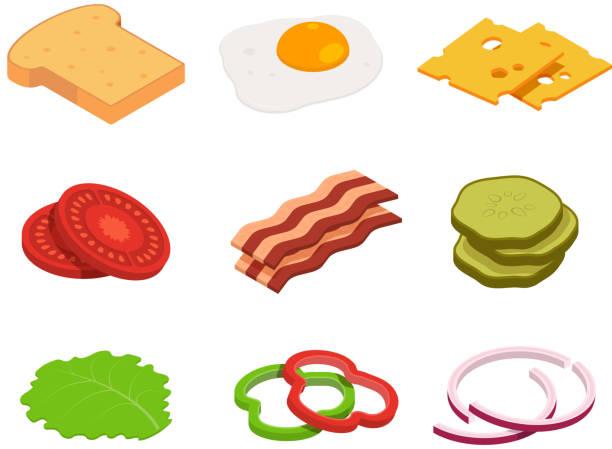 bildbanksillustrationer, clip art samt tecknat material och ikoner med sandwich isometrisk. konstruktören av mat med olika ingredienser - cheese sandwich