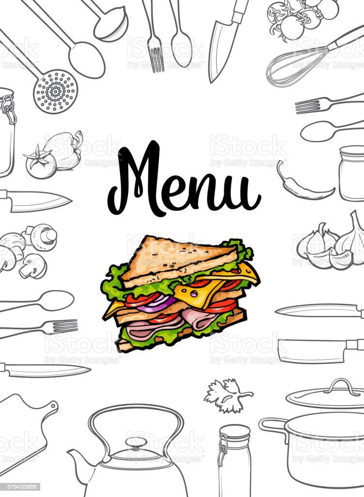 Sandwich, kitchenware and cutlery menu design vector illustration vector art illustration