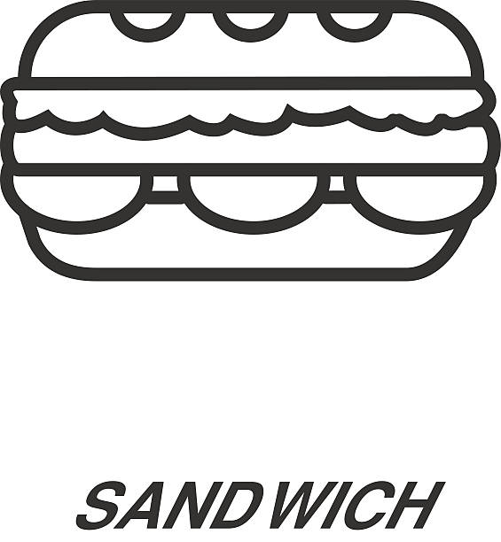 sandwich line icon - sub sandwich stock illustrations, clip art, cartoons, & icons