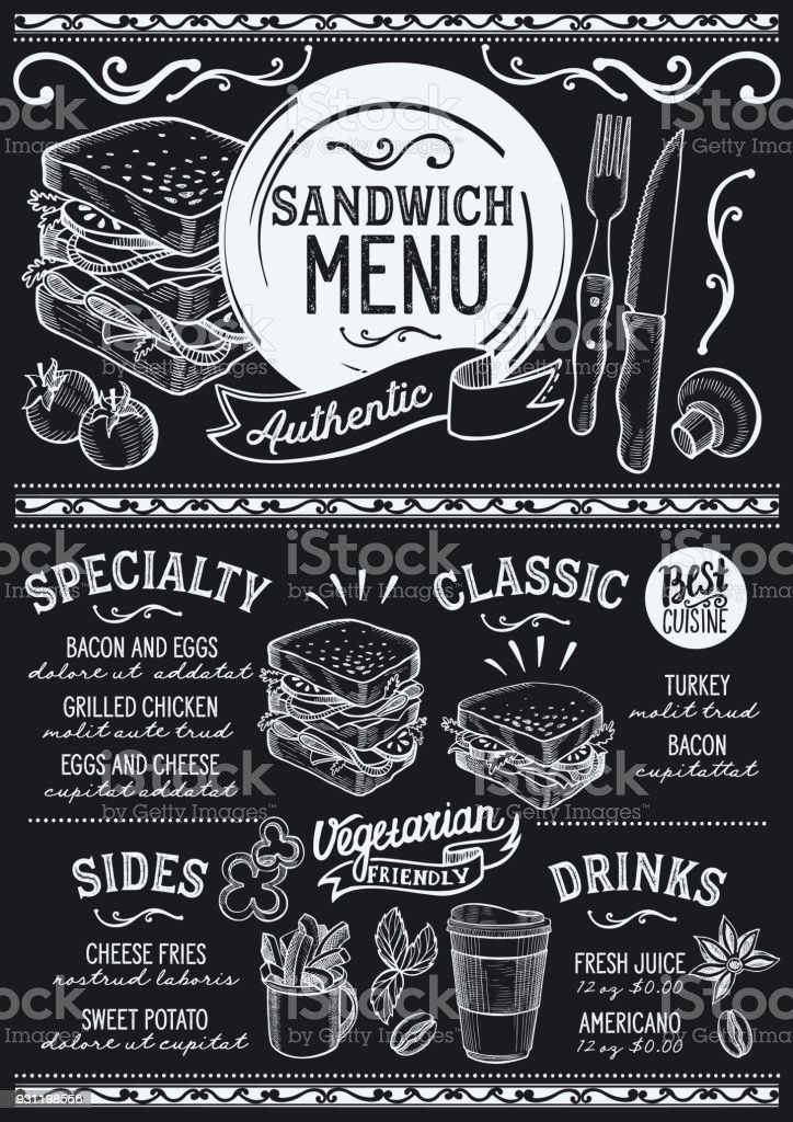 Restaurant menu de sandwich, modèle alimentaire. - Illustration vectorielle
