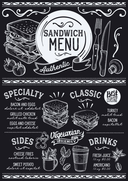 Sandwich menu restaurant, food template. Sandwich restaurant menu. Vector food flyer for bar and cafe. Design template with vintage hand-drawn illustrations. bread designs stock illustrations