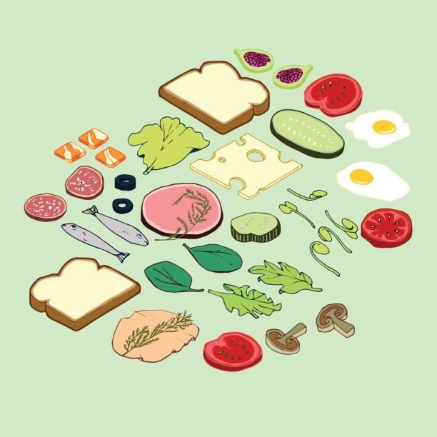 Sandwich Parts vector art illustration