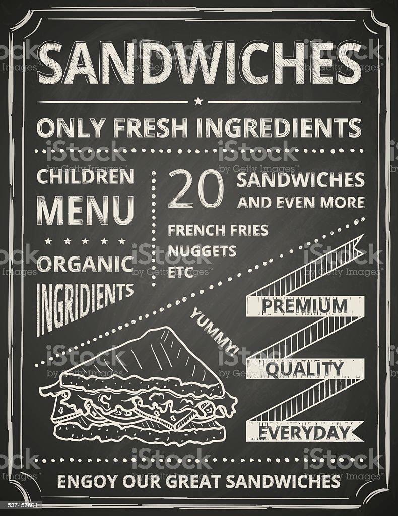 Sandwich poster vector art illustration