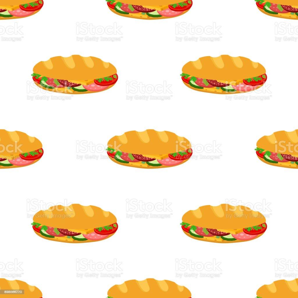 Modèle sans couture de sandwich, restauration rapide petit déjeuner. Cartoon style plat. Vector - Illustration vectorielle