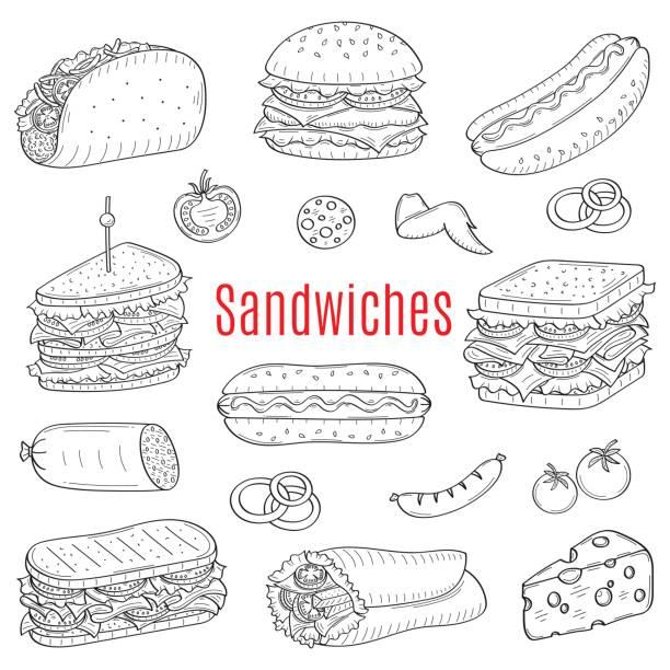 illustrazioni stock, clip art, cartoni animati e icone di tendenza di sandwich set, vector sketch illustration - panino